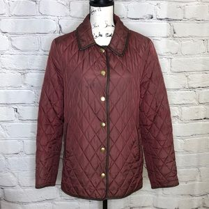 Coach Burgundy Quilted Jacket with Leather Trim - size medium